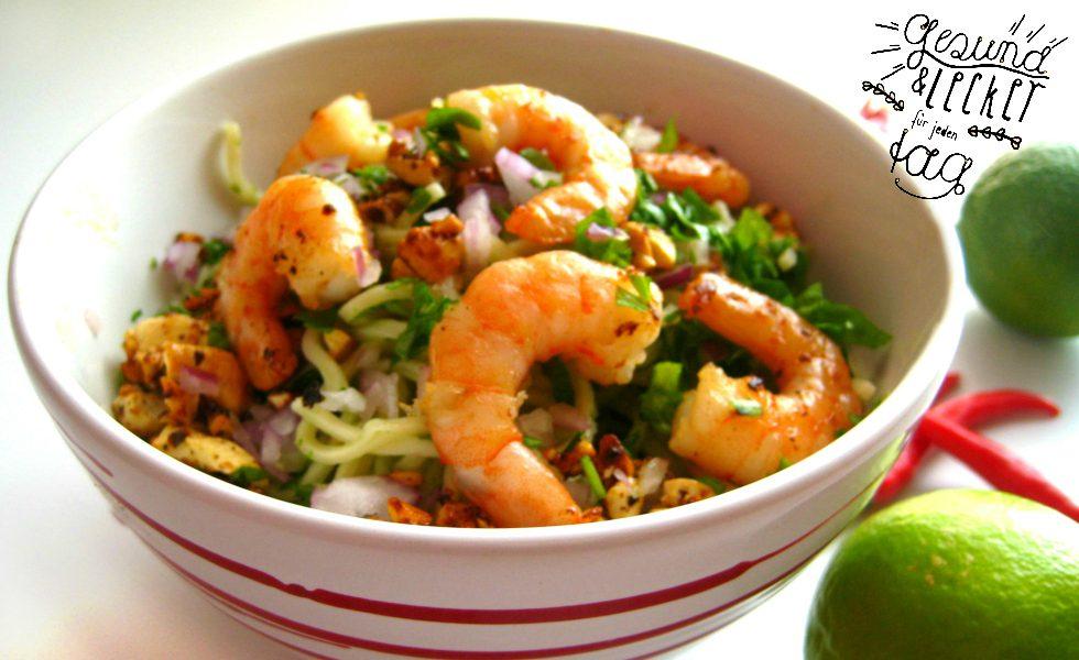 Thai Nudelsalat mit Garnelen