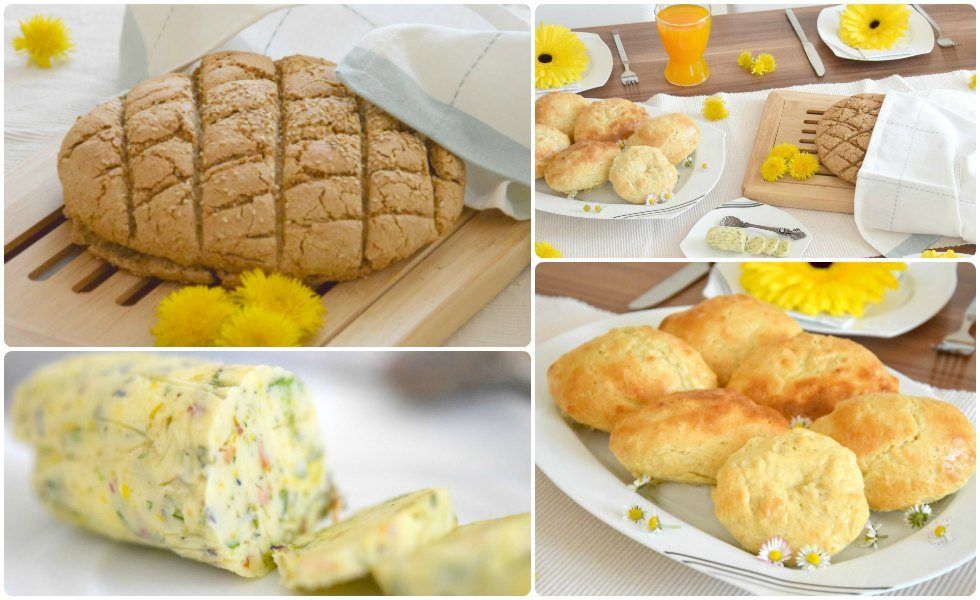 Selbstgemachtes Einkorn-Urbrot mit Wildkräuter-Butter und Milchbrötchen mit Zimtbutter (Werbung)