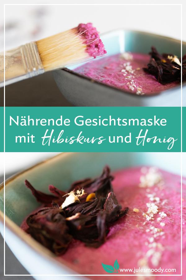 Gesichtsmaske mit Hibiskus, Hafer und Honig für trockene Haut